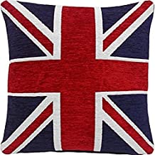 """THICK HEAVYWEIGHT CHENILLE RED WHITE BLUE UNION JACK 18"""" CUSHION COVER PILLOW CASE SHAM"""