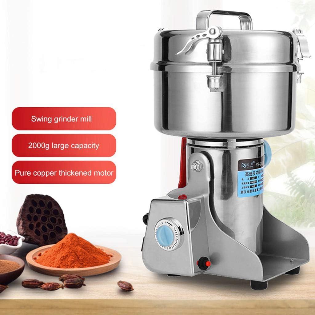 NHX Molino de Grano Molino eléctrico,Máquina de aplastamiento multifunción 32000Rpm,Pulverizador de Alta Velocidad 2000G,Molinillo de Grano de Cereal eléctrico portátil para el hogar,Silver