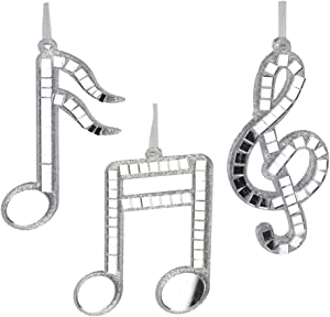 Homeford Hanging Glass Reflective Musical Notes Glitter Christmas Tree Ornaments, Silver, 5-Inch, 3-Piece