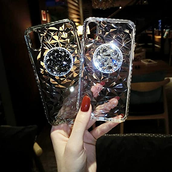297e40ad72 Image Unavailable. Image not available for. Color: Bling Rhinestone Slim  Case Cover with Pop Up Holder for iPhone X XR XS Max 8