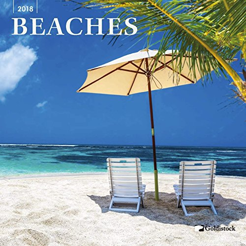 "Goldistock ""Beaches"" Eco-friendly 2018 Large Wall Calendar - 12"" x 24"" (Open) - Visit Paradise Anytime - Thick & Sturdy Paper"