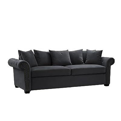 Classic Scroll Arm Velvet Living Room Sofa With Nailhead Trim (Dark Grey)