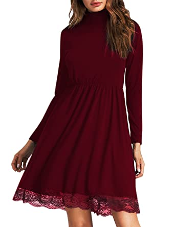 8907e9b7d61a Image Unavailable. Image not available for. Color: Leadingstar Women  Knitting Turtleneck Long Sleeve Loose Lace Cotton Casual Dress (S, Burgundy  Lace