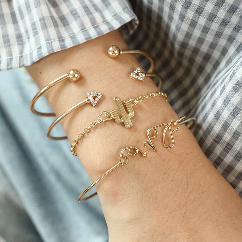 Dsaren Bijoux Empilable Bracelet Kits de Bracelet Manchette R/églable Triangle Amour N/œud Bracelets pour Femmes Filles Girfriend Amiti/é