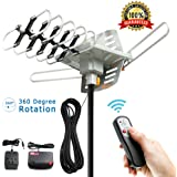 TV Antenna - Outdoor Digital HDTV Antenna 150 Mile Motorized 360 Degree Rotation, OTA Amplified HD TV Antenna for 2 TVs Support - UHF/VHF/1080P Channels Wireless Remote Control - 32.8ft Coax Cable