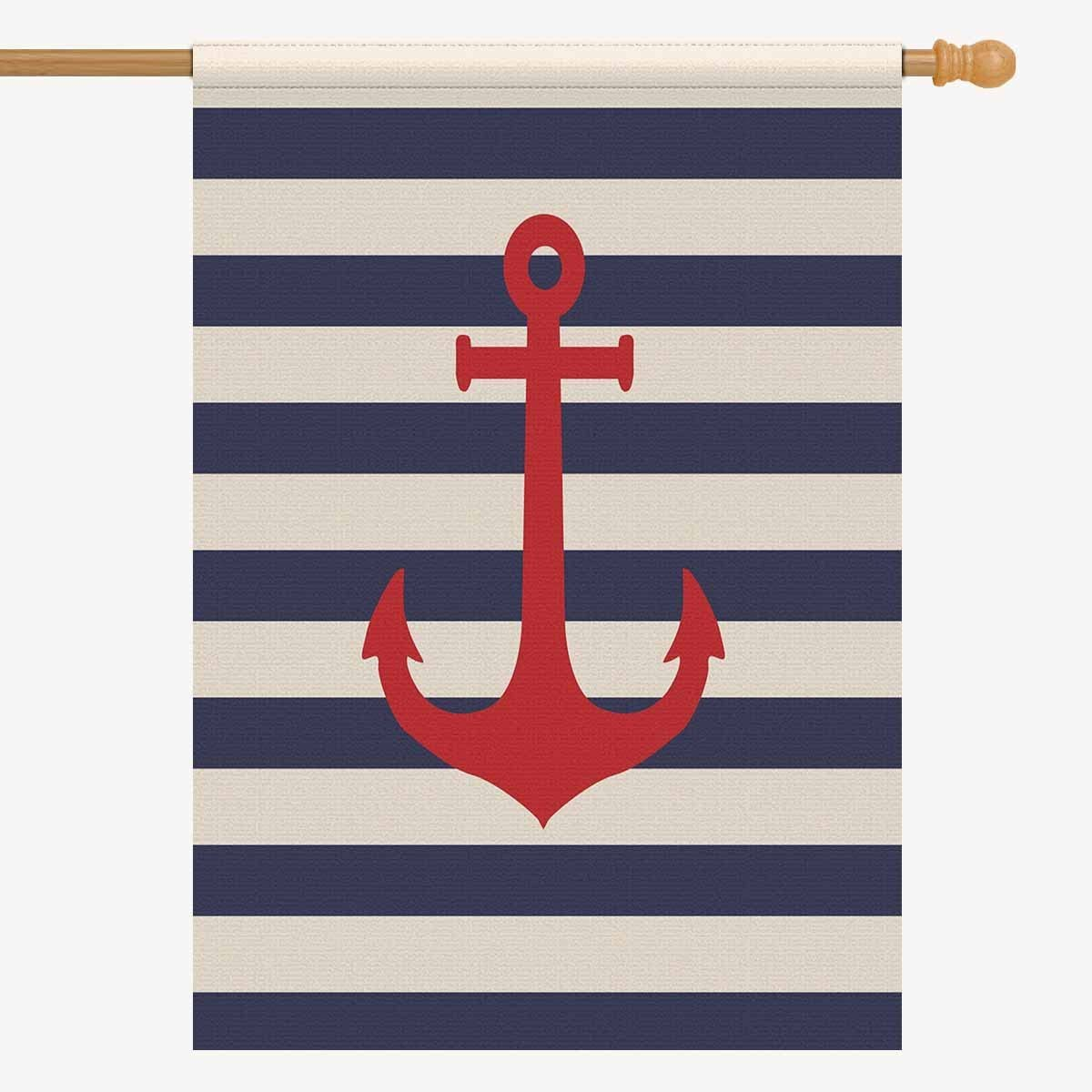 INTERESTPRINT House Flag Decorative Navy Blue Striped Marine Nautical Anchor for Garden and Home Decorations, Oxford Cloth Double Sided House Banner 28 x 40 Inches (Without Flagpole)
