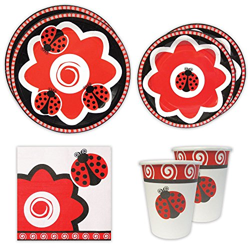 Ladybug Standard Party Packs (65+ Pieces for 16 Guests!), Ladybug Birthday Supplies, Plate and Napkin Sets, Party Decorations