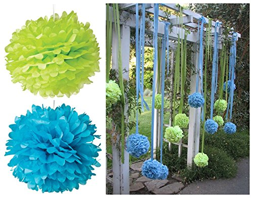 Fonder Mols 12Pcs Mixed Size 8 10 Green Blue Tissue Paper Pom Poms Flowers Set Wedding Party Decor