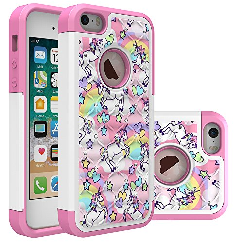 Iphone 5S Case, Iphone SE Bling Case, Rainbow Unicorn Pattern Heavy Duty Shockproof Studded Rhinestone Crystal Bling Hybrid Case Silicone Protective Armor for Apple iphone 5/5s iphone SE (Best Iphone Se Case For Kids)