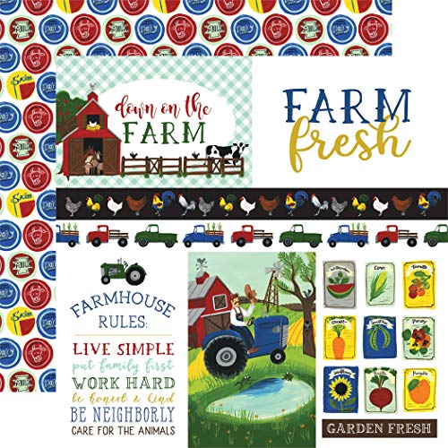 "Echo Park Paper Company Down On The Farm Double-Sided Cardstock 12""X12""-Journaling Cards"