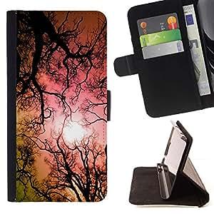 Momo Phone Case / Flip Funda de Cuero Case Cover - Hallucinogen Lsd árboles Bosque Sun Rosa - LG G4