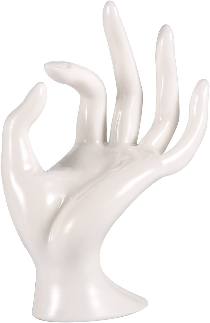 ChezMax Polyresin Hand Form Jewelry Display Holder Bracelet Necklace Stand (Milky White)