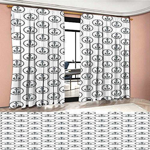 (Mannwarehouse Anchor Patterned Drape For Glass Door Vintage Dark Blue Ship Anchors Framed by Round Chain Borders Marine Design Waterproof Window Curtain Dark Blue White)
