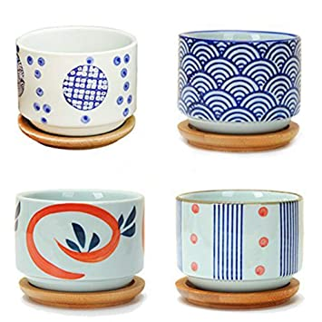 Amazon Com Flowerpot Wooden Pot Tray Japanese Style Wave Pattern