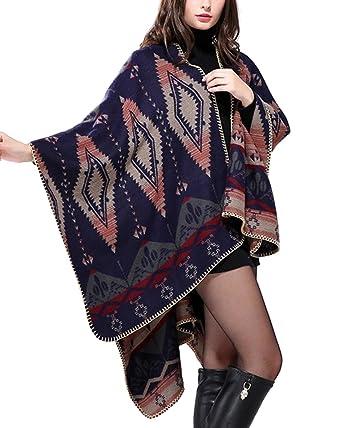 ZongSen Femme Poncho Châle Vintage Cardigan Grand Foulard Écharpe Chaud  Manteau pour Automne Hiver AZTEC e30c8588355