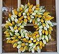 Yellow And White Tulip Spring Door Wreath