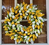 Yellow And White Tulip Spring Door Wreath 19 Inch- Stunning Silk Front Door Wreath For Spring And Summer Wreath Display, Extremely Full Design, Beautiful White Gift Box Included