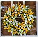Yellow And White Tulip Spring Door Wreath