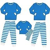 HHoo88 Family Matching 2 Piece Christmas Pajamas Set White Blue Stripe Sleepwear for Men Women Kids Pajamas Xmas Sets