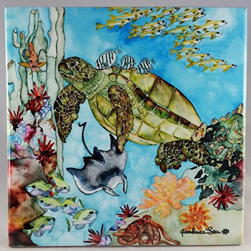 "B015U14OZU Ceramic Tile Turtle - ""Mauna Lani Bay Honu"" Artwork by Candace Lee. Made in Hawaii. Comes in 3 sizes 4.25"", 6"" or 8"". Tile can be hung on the wall or used as a trivet. 61JnmV7CWfL"