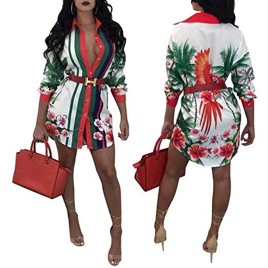 Women's Floral Print T Shirt Dress   Button Down Long Sleeve Collar Loose Blouse Tops Mini Dress by Halfword
