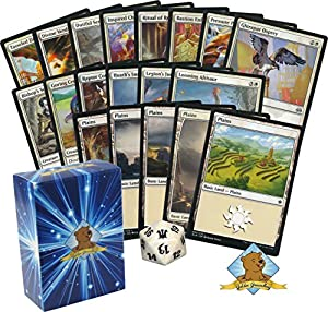 60 Magic The Gathering - All White Cards Beginner Starter Deck! 1 Spindown! Lands! Includes Golden Groundhog Deck Box!