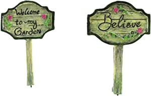 TG,LLC Treasure Gurus 2pc Mini Welcome to My Garden Believe Yard Sign Set Fairy Accessory Ornament Outdoor Dollhouse Decor