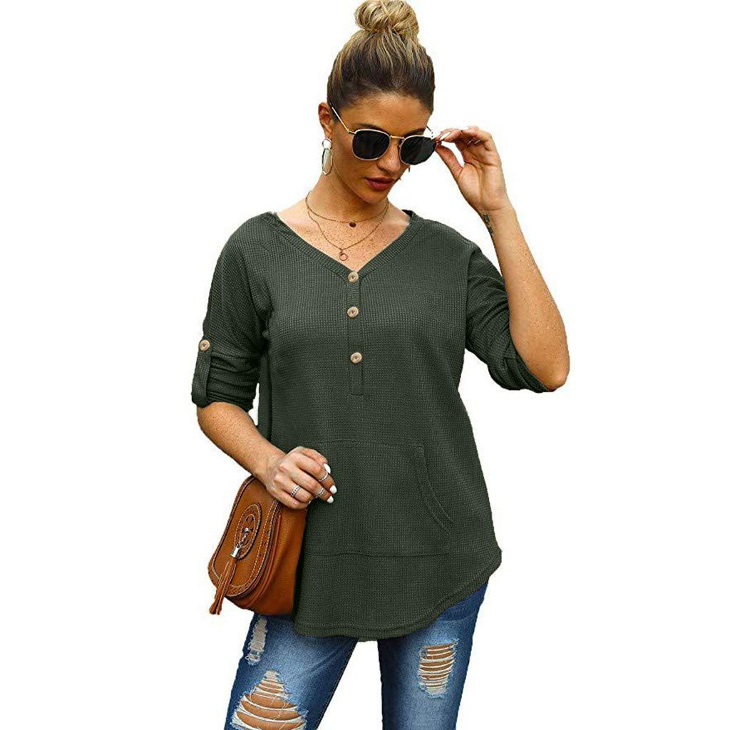 ZOMUSAR Womens Casual Solid Color Blouse Roll Up Long Sleeve V Neck Button Shirt Pocket Tops