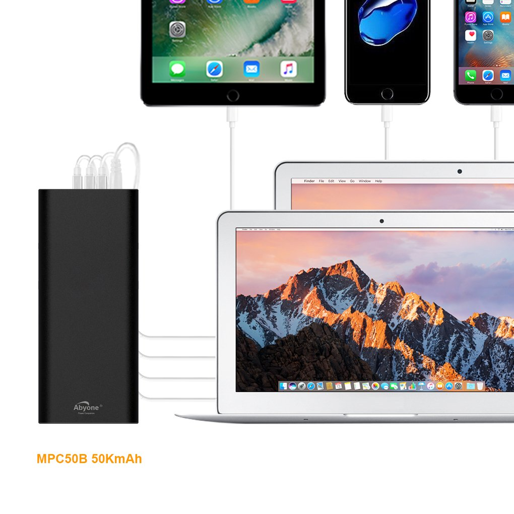 Atabyone MPC50B 50000mAh 6Ports Portable Charger Power Bank for compatible with 2006 to 2015 Apple MacBook Pro MacBook Air MacBook; USB Ports Charge for New MacBook iPad iPhone Tablet or Smartphones by Abyone (Image #8)