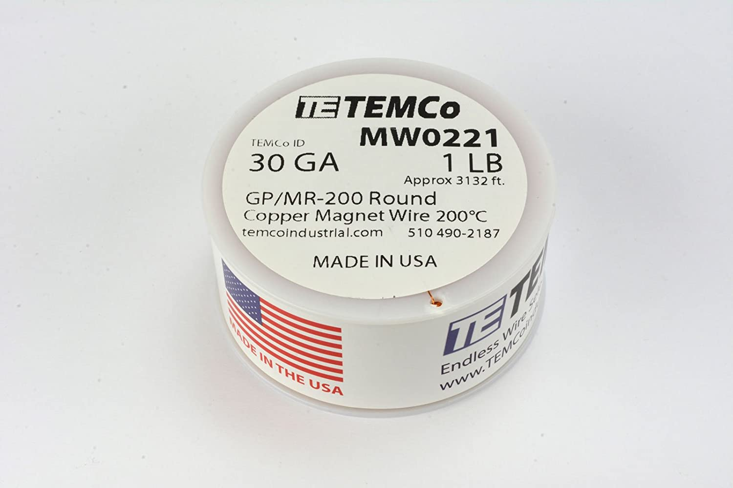 Amazon.com: TEMCo 30 AWG Copper Magnet Wire - 1 lb 3132 ft 200°C ...