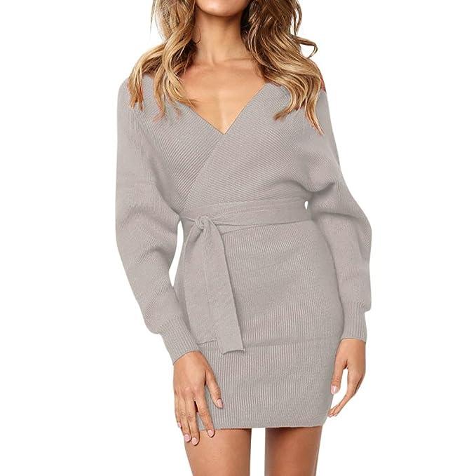 142ea6dcda7bf2 Longra Damen Kleider Strickkleider Sweatkleider Feinstrickkleid Kleid mit  V-Ausschnitt Damen Pullover Kleider Winterkleider Kleid