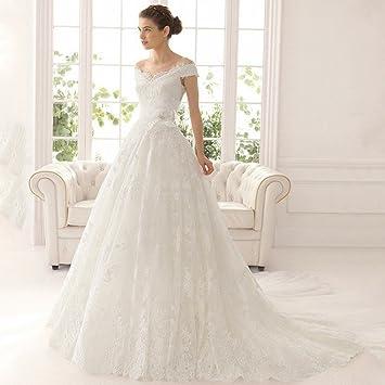 AN Vestido de novia largo hombro delgado-cola Vestido de novia elegante encaje,blanco