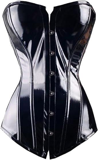 FLORATA Black PVC Leather Steampunk Gothic Wasit Trainer Underbust Corset Bustier