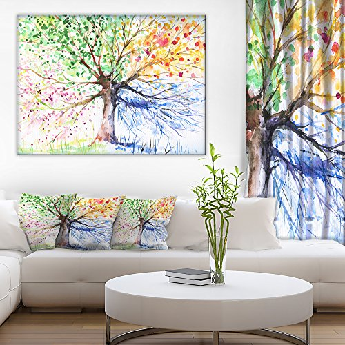 Four Seasons Tree Floral Art Canvas - Art Oversized Iv Canvas
