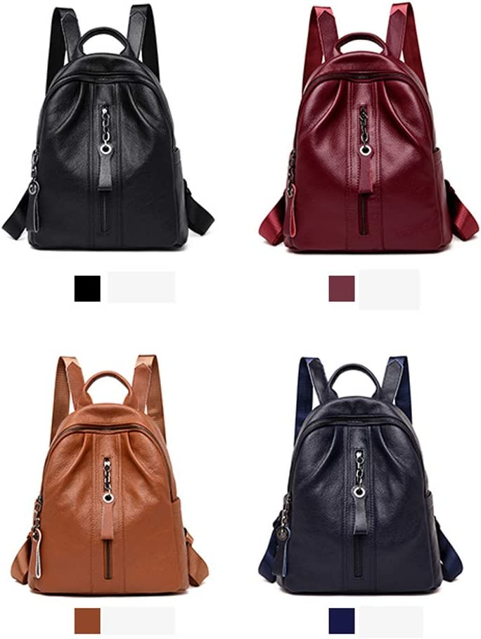 Black//Blue//Brown//Red Simple Large Capacity Latest Models Huijunwenti Girls Multi-Purpose Backpack for Daily Travel//Travel//School//Work//Fashion//Leisure PU Leather