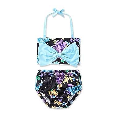 afb5a8f7c SCFEL 2Pcs Cute Baby Girls Kids Halter Floral Blue Bow Swimwear ...