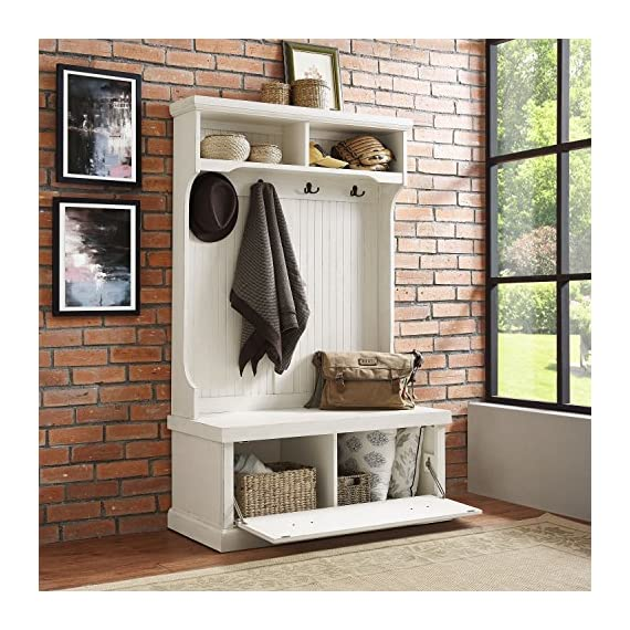 Crosley Furniture Seaside Hall Tree - Distressed White - Classic design featuring beadboard panels Solid hardwood and wood veneer construction Four double hooks for hanging accessories - hall-trees, entryway-furniture-decor, entryway-laundry-room - 61JnpLtR%2BnL. SS570  -