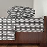 Roostery Synergy0009 4pc Sheet Set 02445530 : Film Cell Stripe : Black And White by Sef King Sheet Set made with