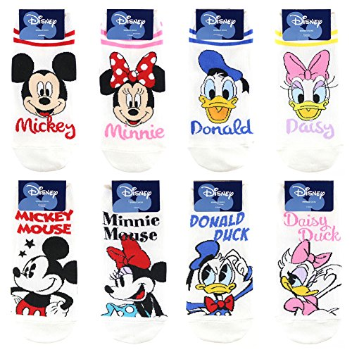 NICE LIVING Disney Character Fashion Socks for Women 8 Pairs Name and Stripe (Female Cartoon Characters Names)