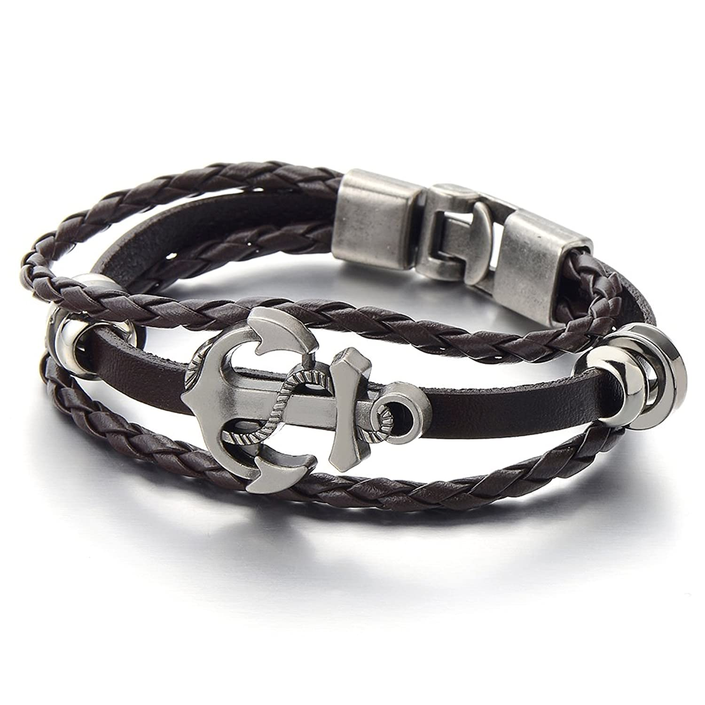 Mens Boys Anchor Brown Braided Leather Bracelet Multi-strand Leather Wristband Wrap Bracelet