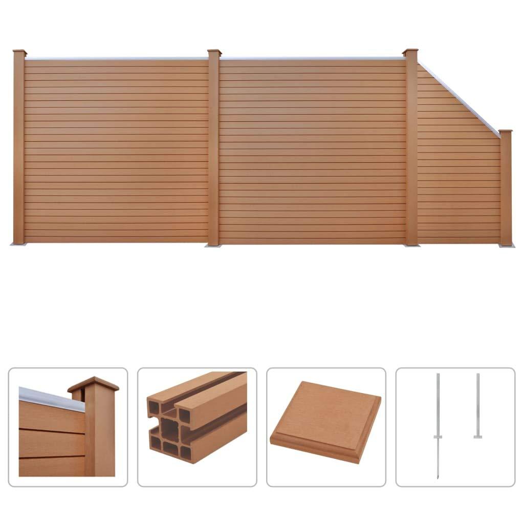 Brown 2x Square+1 Slanted 451x187cm Brown 2x Square+1 Slanted 451x187cm vidaXL WPC Fence Set 2 Square+1 Slanted 451x187cm Brown Patio Wall Board Panel
