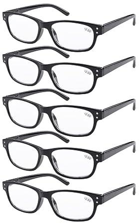 Eyekepper Gafas de Lectura Retro 5-Pack con bisagras de Resorte Gafas de Sol de Lectura Incluido