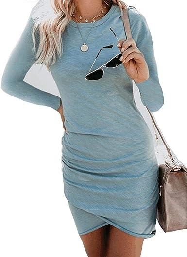 Vestido Fiesta Camisetas Mujer Vestido Tops Mujer Vestido Playa Camisetas y Tops para un Vestido Básico para Verano Otoño: Amazon.es: Ropa y accesorios