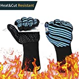 Aotusi Oven Mitts, 932°F Extreme Heat Resistant - Food Grade Level 5 Protection Kitchen, Silicone Non-slip for Grilling, Baking, Cutting - Black & Blue (1 Pair)