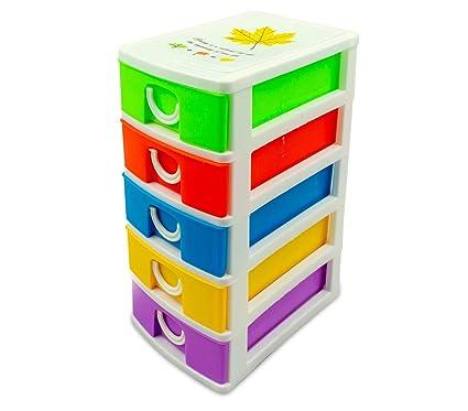 Cassettiere Plastica Colorate.Mini Cassettiera 5 Piani Welkhome 391617 Plastica Rigida