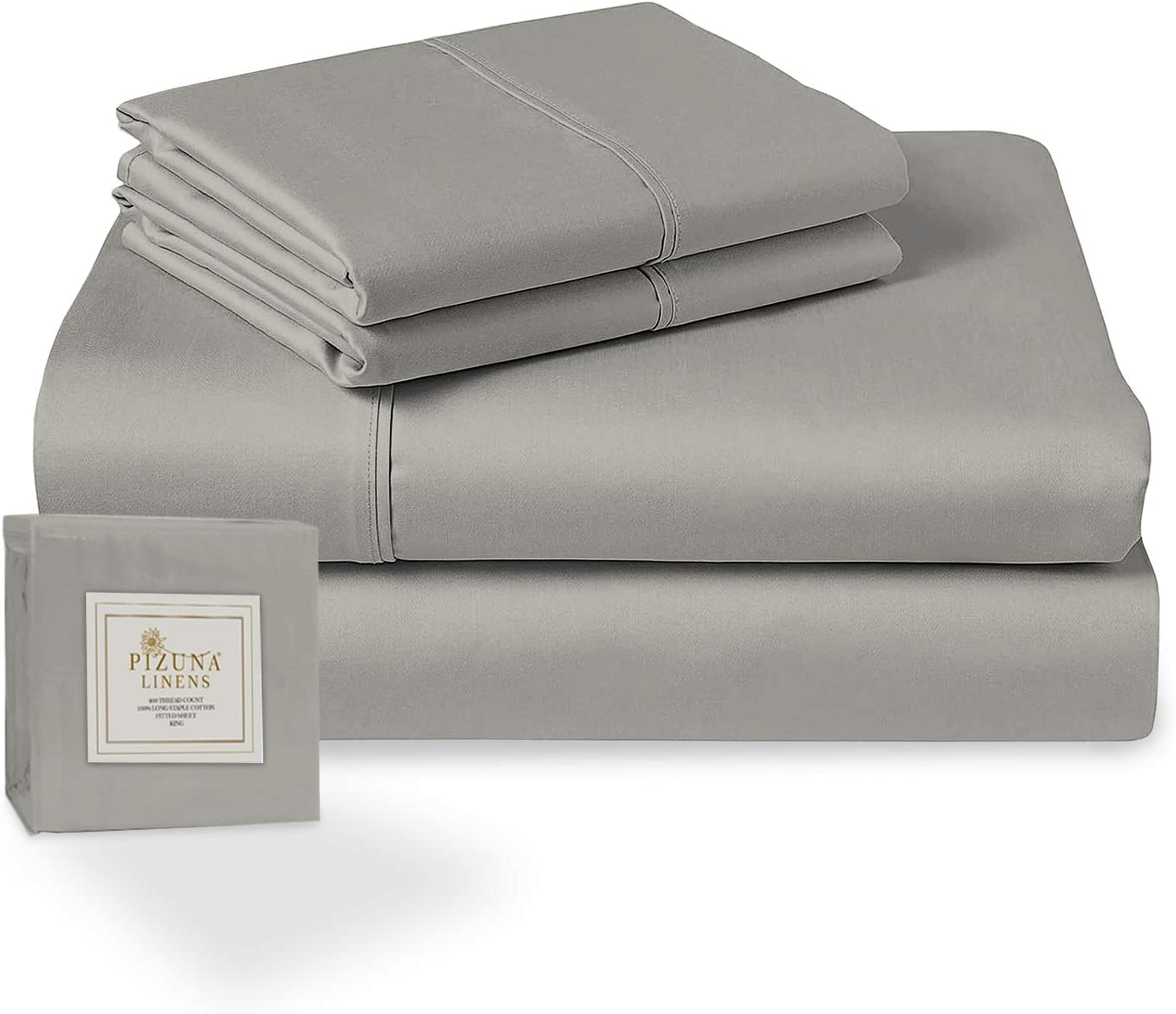 Pizuna 400 Thread Count Queen Cotton Sheets Set Grey, 100% Long Staple Cotton Soft Sateen Bed Sheets Deep Pocket fit Upto 15 inch (100 Cotton Sheets Queen Gray)