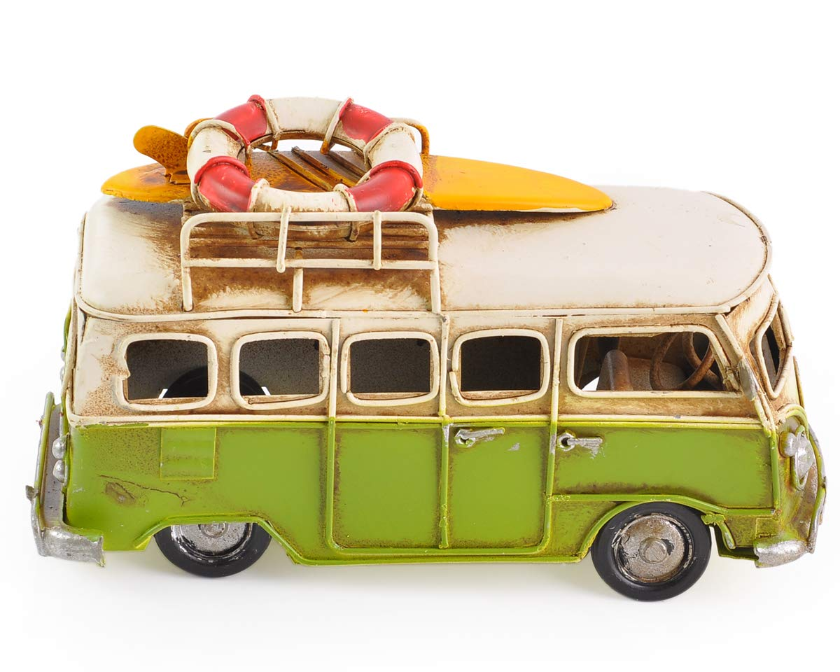SCSpecial Toy Camper 16/cm Worn Style Retro Metal Classic T1/Camper Beach Bus Toy Model Green