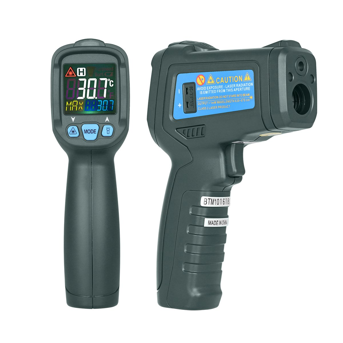 BSIDE BTM21C Digital IR Infrared Thermometer Meat Food BBQ Temperature Gun -58℉~1022℉ (-50℃~550℃) with K-type Thermocouple