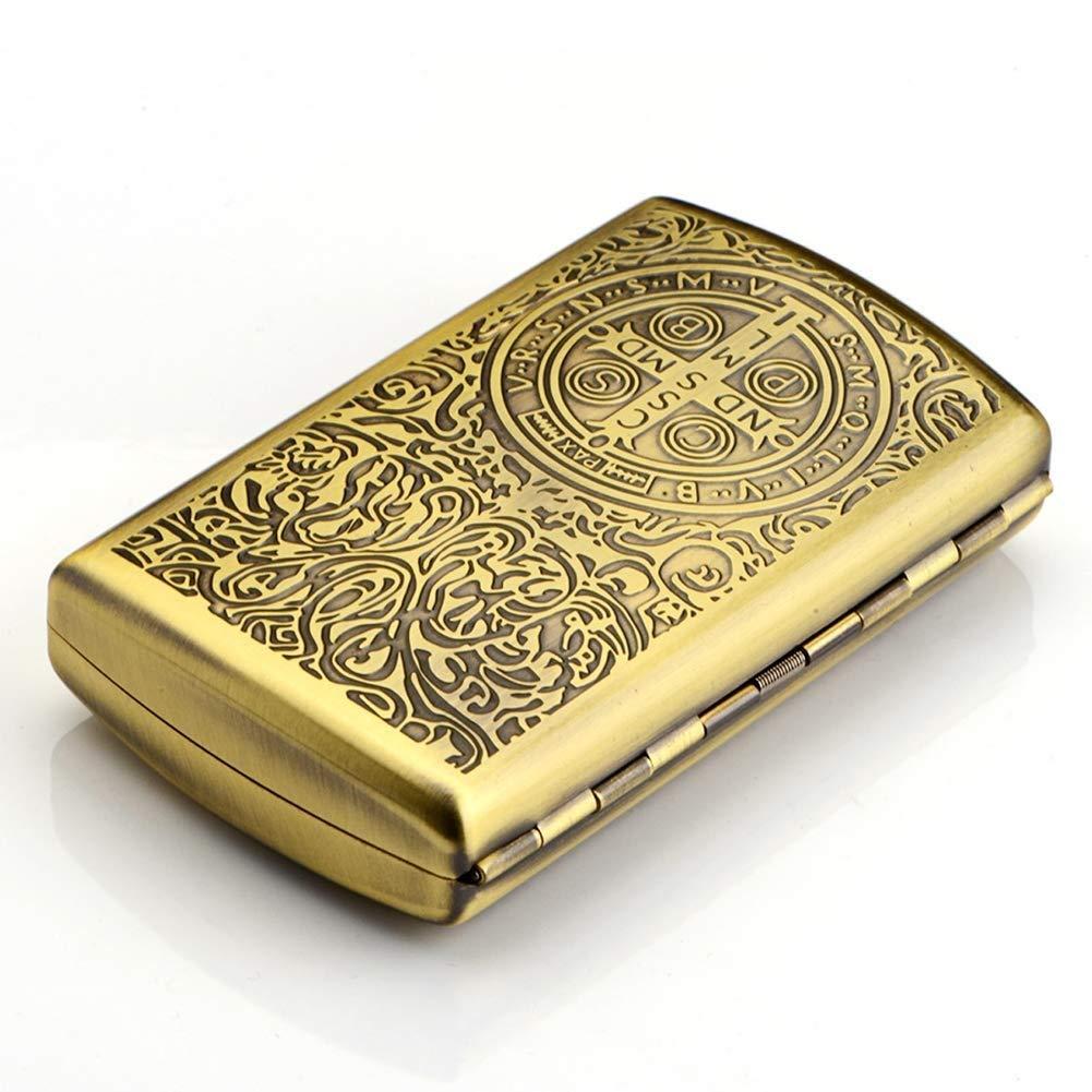 Lcxligang Pure Copper Cigarette Case, Ultra-Thin Portable Design Creative Smoking Set 12 Sticks