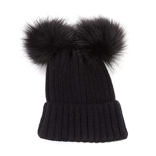 Staron Baby Hats Cover Ears Unisex Winter Warm Crochet Wool Knit Ski Beanie  Caps (A e35f9b89f38